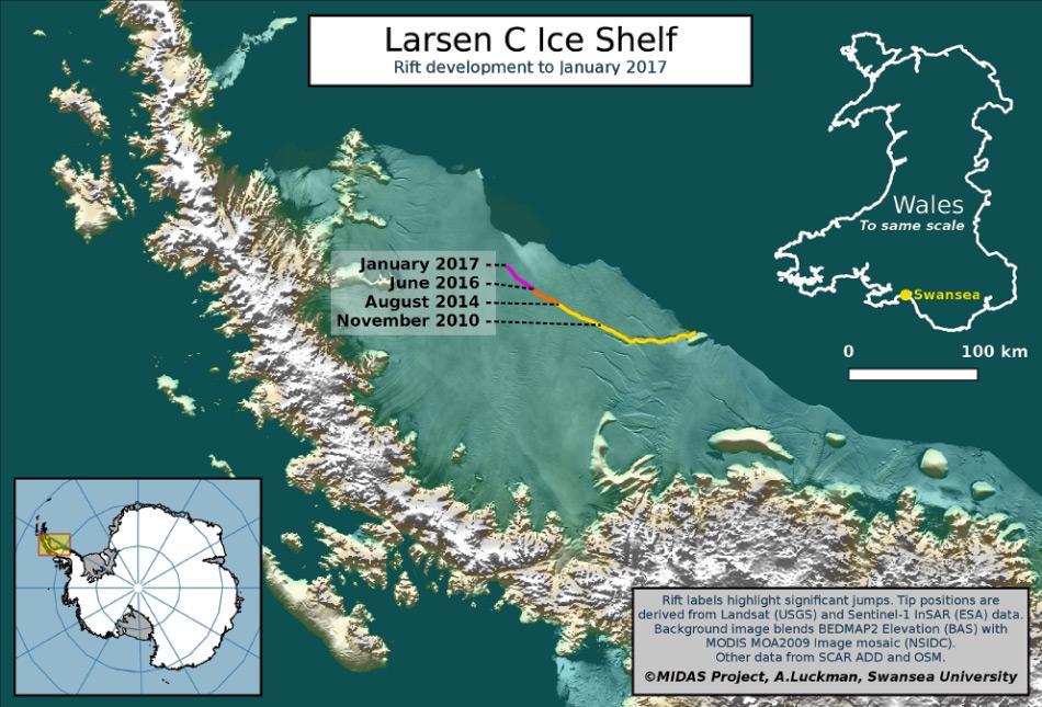 Die Karte zeigt das Larsen C Eisschelf und den zeitlichen Verlauf des Risses, der eventuell zum Abbruch eines Eisberges führen wird, der etwa 5'000 km2 Fläche aufweisen wird. Dies entspricht etwa der Grösse des Kantons Wallis. Bild: A Luckman, Swansea University