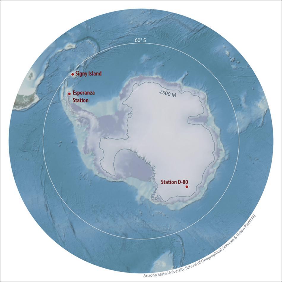 Das Gebiet der Antarktis umschliesst alles Land und Eis südlich von 60 °S. Die Standorte der drei Stationen mit den höchsten gemessenen Temperaturen (Signy, Esperanza und D-80) sind dargestellt, ebenso wie die 2500m Höhenlinie. (Abbildung: WMO)