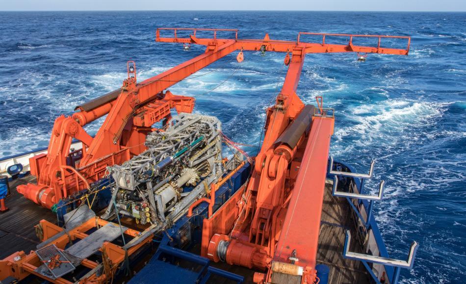 Meeresboden-Bohrgerät MARUM MeBo70, das auf der Polarstern-Expedition PS104 erstmalig in der Antarktis zum Einsatz kommt. Foto: Thomas Ronge