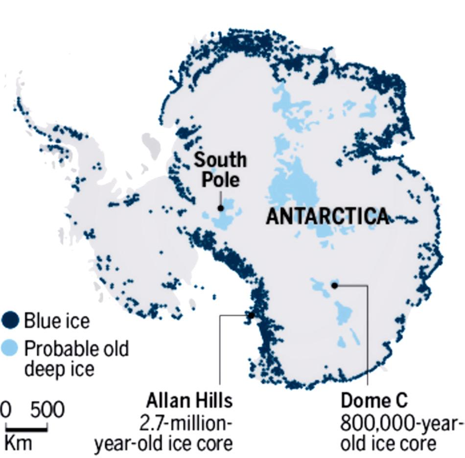 Die Karte zeigt Gebiete, wo blaues Eis in der Antarktis liegt. Nur rund 1% des Kontinents weist solche Gebiete auf. Karte: Norwegian Polar Institute
