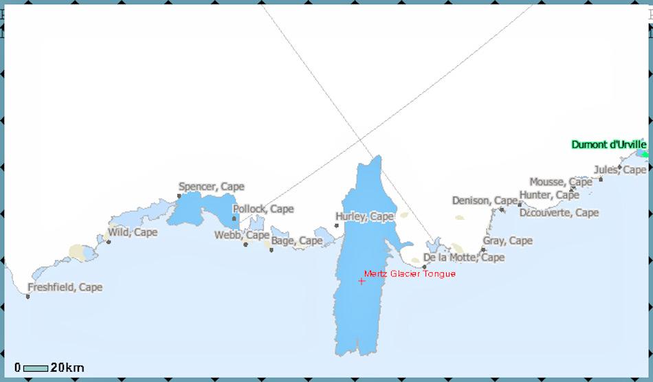 Die Gletscherzunge des Mertz-Gletschers brach im Februar 2010 in zwei Teile, als ein riesiger Eisberg mit der Zunge (blau) kollidierte. Diese war bereits durch einen gewaltigen Spalt geschwächt. Der neu entstandene Eisberg hatte die Grösse Luxemburgs. Bild: US Geographical Society