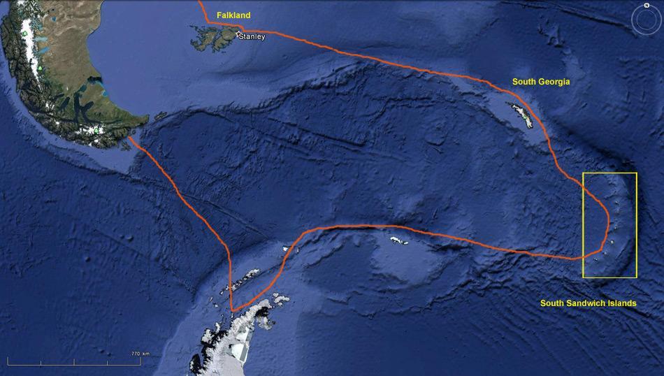 Die Expedition führte von Puerto Madryn und die Falklands, South Georgia zu den South Sandwich Islands. Weiter ging es zur Antarktischen Halbinsel und endete in Ushuaia an der Südspitze von Argentinien.