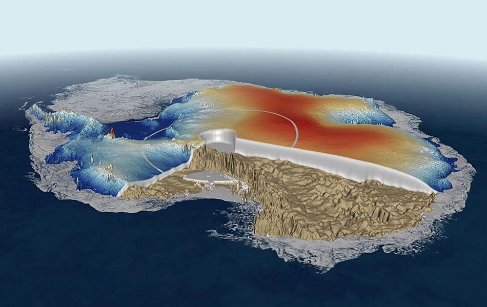 Der antarktische Eispanzer begann sich vor rund 38 Millionen Jahren zu bilden und bedeckt heutzutage rund 98 % des Kontinents. Während seiner Bildung wurde Luft zwischen den Eiskristallen eingefangen und die Zusammensetzung der verschiedenen Gasen und Isotopen geben Aufschluss über die klimatischen Bedingungen zu dieser Zeit.