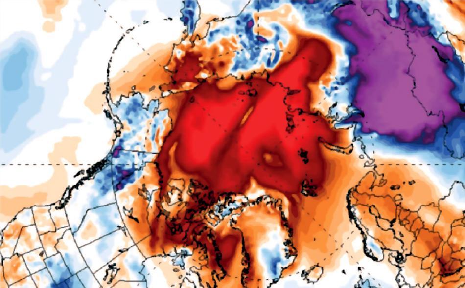 Diese Karte, die durch Satellitendaten der Universität Maine erstellt wurde, zeigt die extensive Erwärmung in der Arktis zwischen Oktober und Dezember 2016. Je mehr rot, desto höher die Durchschnittstemperatur. Bild: Universität Maine