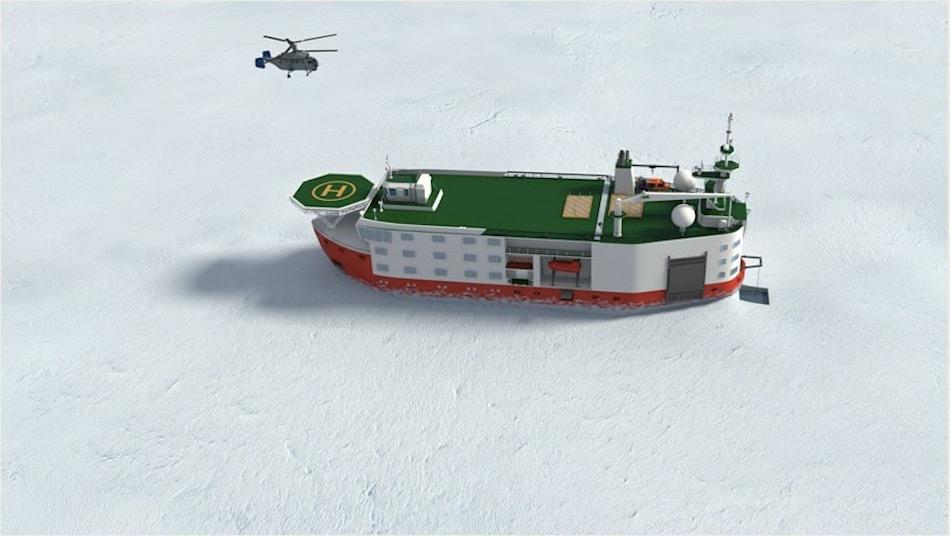 Die geplante Plattform wird das Aussehen eines Eisbrechers haben und wird sich selbst durch das Eis bewegen können. Sie soll bis zu drei Jahre autark sein gemäss den Plänen der Entwickler. Bild: Roshydromet