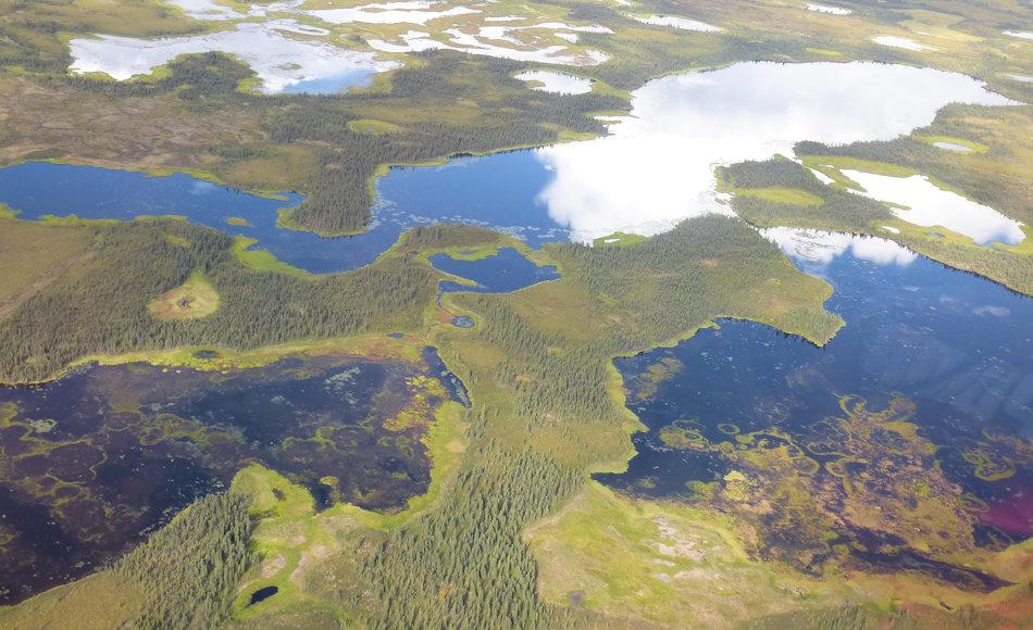 Die riesigen Seelandschaften liegen vor allem in Alaska und Russland. Dort werden gigantische Mengen an Methan vermutet, die durch die Auftauprozesse bereits jetzt freigesetzt werden. Dadurch wird die Erwärmung der Arktis noch beschleunigt. Bild: Ingmar Nitze
