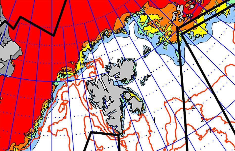 Ausschnitt der Eiskarte vom 9.12.2015 vom Norwegischen Meteorologischen Institut. Um Spitzbergen ist das Meer derzeit völlig eisfrei.