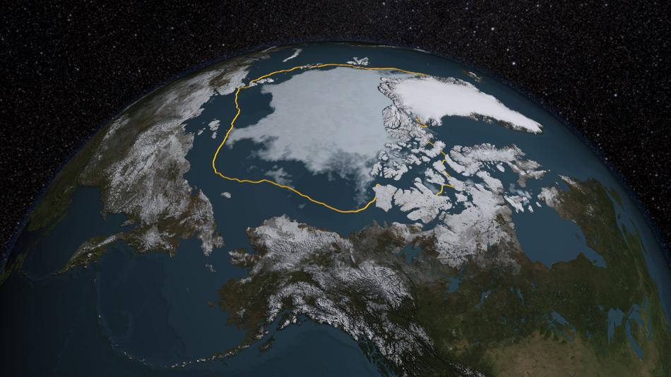 Die NASA verzeichnete im Sommer 2015 die viert-niedrigste Sommereisausdehnung seit Messbeginn. Mehr als 1.7 Millionen Quadratkilometer kleiner war die Fläche als im Durchschnitt gemessen. Karte: NASA Goddard's Scientific Visualization Studio