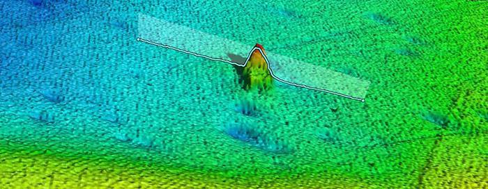 Bei Tests wurden zufällig die Umrisse der Terra Nova auf dem Echolot gesichtet.
