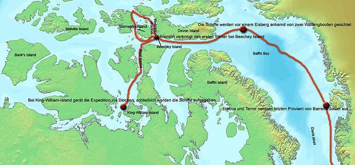 Die Franklin Expedition startete am 19. Mai 1845. Nach einer dritten Überwinterung im Packeis gaben die bis dahin noch am Leben gebliebenen 105 Expeditionsteilnehmer am 22. April 1848 ihre Schiffe auf und unternahmen unter Führung des Kapitäns der «Terror», Francis Crozier, und des nach Franklins Tod die «Erebus» kommandierenden 1. Offiziers James Fitzjames den verzweifelten Versuch, einen etwa 350 km südlich gelegenen Aussenposten der Hudson's Bay Company am Back River zu Fuss zu erreichen. Keiner der Männer erreichte das Ziel.