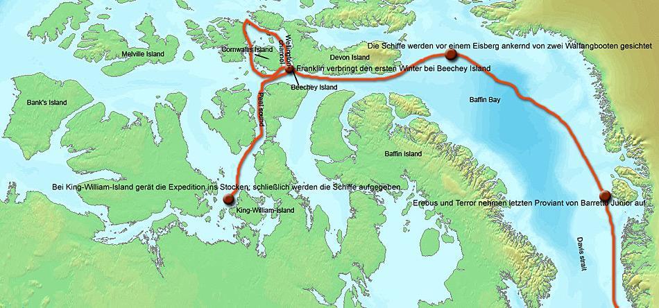 Hier sind die markanten Punkte der Franklin-Expedition aufgezeichnet, welche bei King William Island ein tragisches Ende nahm.
