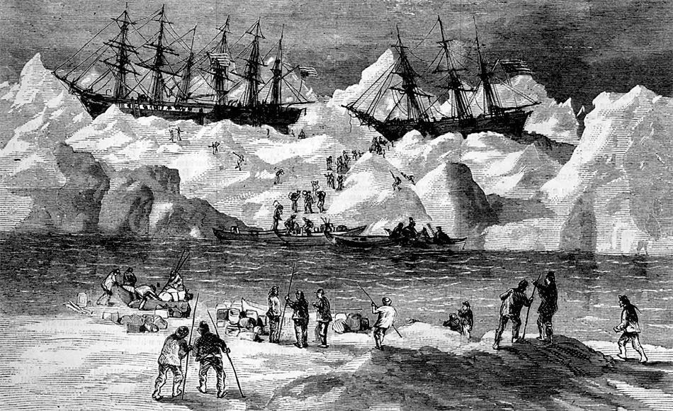 Das Bild aus der Zeitschrift Harper's Weekly von 1871 zeigt, wie die Seeleute die Schiffe George, Gayhead und Concordia verlassen. Bild: Mit freundlicher Genehmigung der Robert Schwemmer Maritime Library