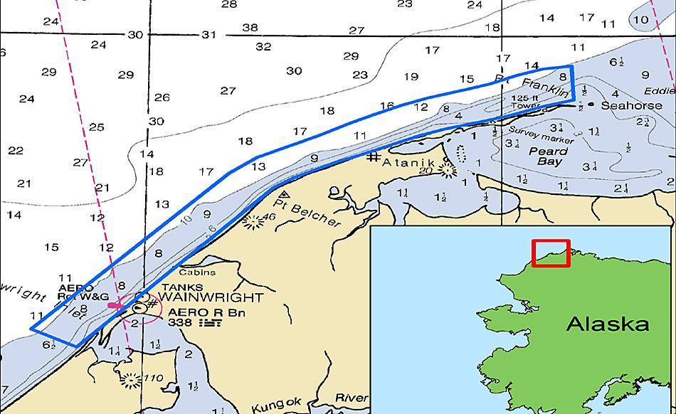 Die Karte zeigt das Gebiet, welches im Rahmen der Suche nach der verlorenen Walfangflotte im letzten Herbst durchsucht worden war. © M. Lawrence, NOAA
