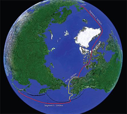 Die Glasfaserleitung führt über insgesamt 15.600 Kilometer von Tokyo nach London.