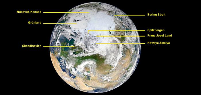 Nordpol Blue Marble - Bildlegende