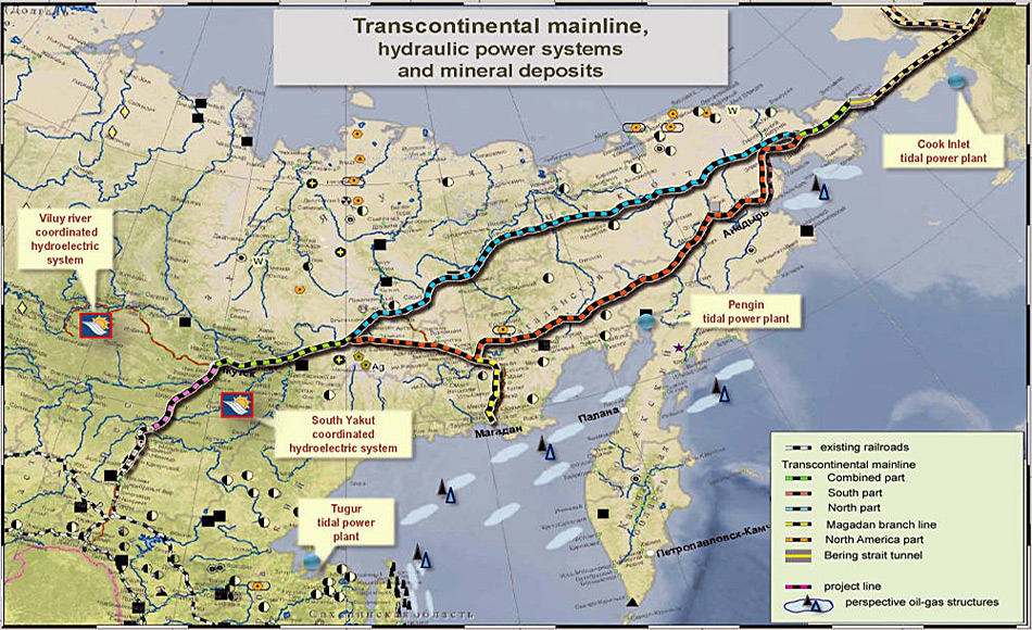 Für die geplante Route der Bahnlinie gibt es zwei Varianten. Daneben würden Öl- und Gaspipelines verlaufen.
