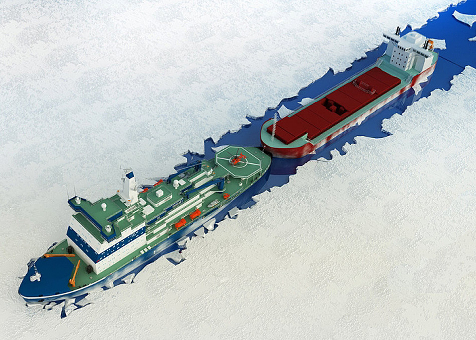 Die neue Generation von Eisbrecher sollen gemäss den Plänen von Rosatom eine breite Palette von Aufgaben übernehmen, sowohl auf der Nordmeerroute wie auch auf den Flüssen und Mündungsbereichen von Ob, Don und Lena. Bild: Rosatom / Barents Observer